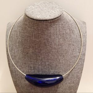 Vintage Murano royal blue glass necklace.